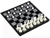checkers against chess - guess who wins?
